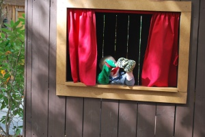 Derek's puppet show included 2 unruly snakes